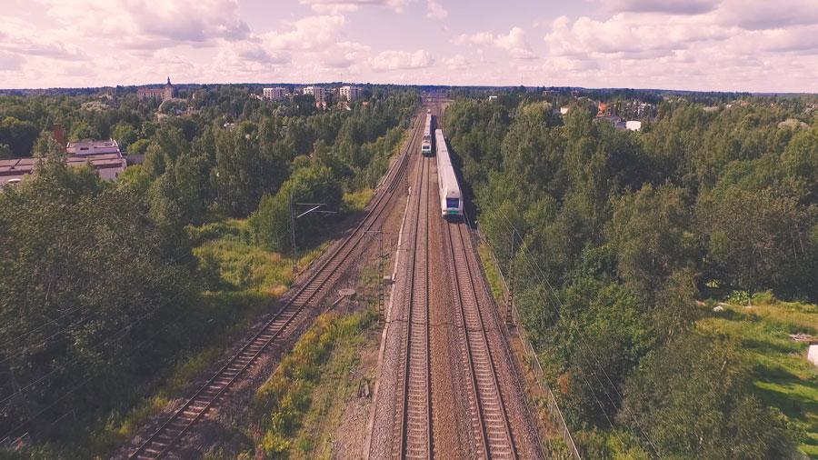 Ilmakuva Akaa rautatie